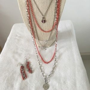 Rock jewerly set silver and coral color